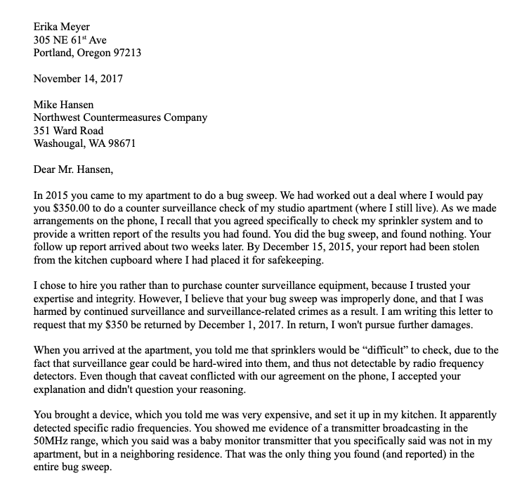 Nov 14 2017 letter to Mike Hansen, NWC Security - page 1
