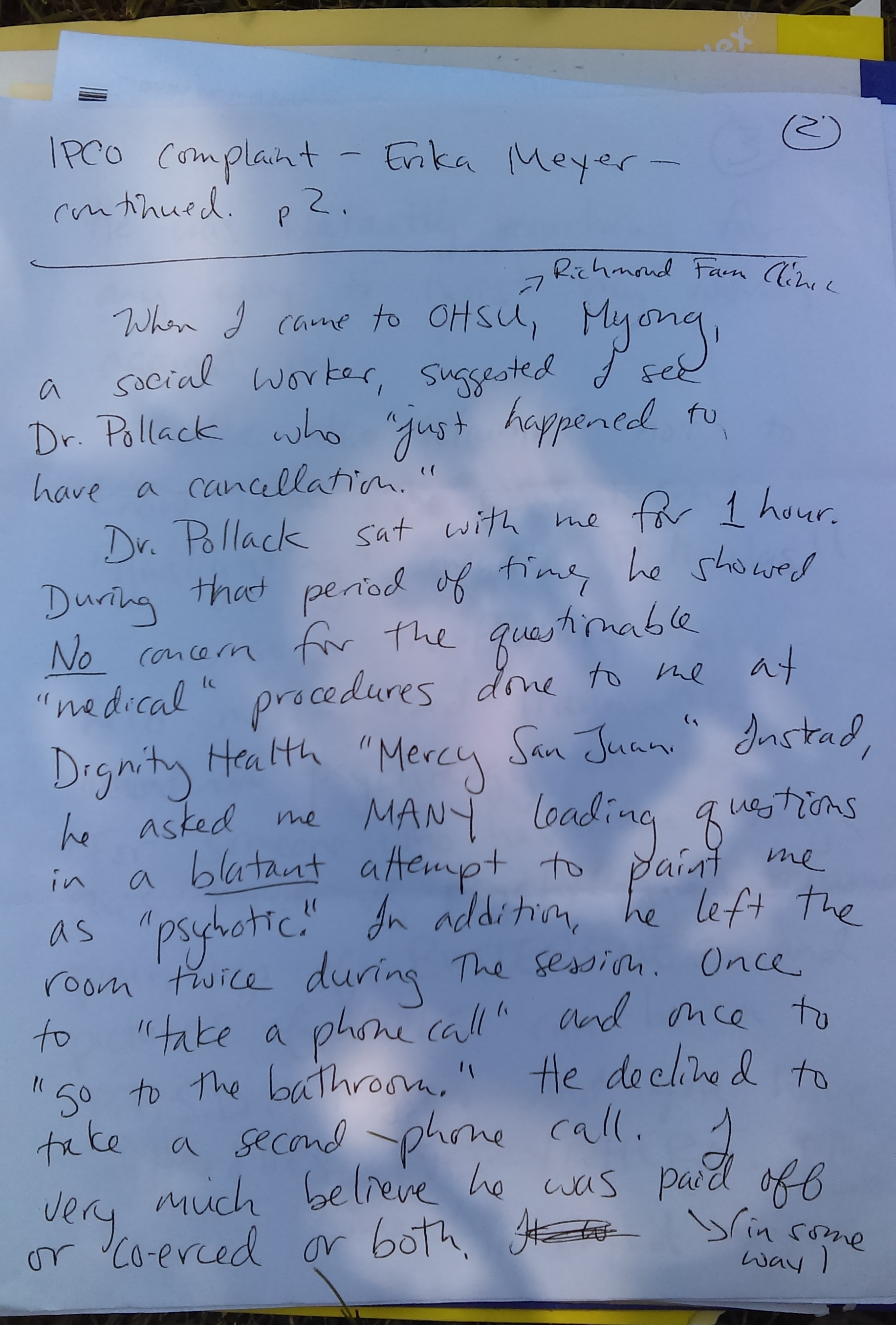 6-13-2014 complaint file with OHSU about Dr Pollack page 2